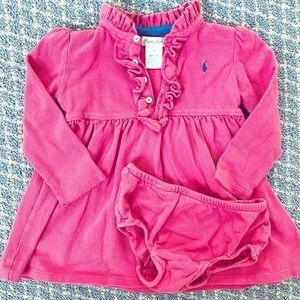Ralph Lauren Pink Ruffle Pique Polo Dress